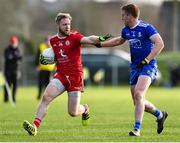 2 February 2020; Frank Burns of Tyrone in action against Kieran Duffy of Monaghan during the Allianz Football League Division 1 Round 2 match between Monaghan and Tyrone at St. Mary's Park in Castleblayney, Monaghan. Photo by Oliver McVeigh/Sportsfile