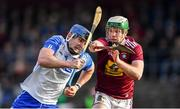 2 February 2020; Patrick Curran of Waterford in action against Brendan Doyle of Westmeath during the Allianz Hurling League Division 1 Group A Round 2 match between Westmeath and Waterford at TEG Cusack Park in Mullingar, Westmeath. Photo by Piaras Ó Mídheach/Sportsfile
