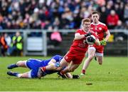 2 February 2020; Peter Harte of Tyrone in action against Darren Hughes of Monaghan during the Allianz Football League Division 1 Round 2 match between Monaghan and Tyrone at St. Mary's Park in Castleblayney, Monaghan. Photo by Oliver McVeigh/Sportsfile