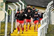 2 February 2020; Ronan McNamee leading the Tyrone players down the steps to the field before the Allianz Football League Division 1 Round 2 match between Monaghan and Tyrone at St. Mary's Park in Castleblayney, Monaghan. Photo by Oliver McVeigh/Sportsfile