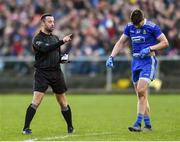 2 February 2020; Referee David Gough before issuing a black card to Darren Hughes of Monaghan during the Allianz Football League Division 1 Round 2 match between Monaghan and Tyrone at St. Mary's Park in ?Castleblayney, Monaghan. Photo by Oliver McVeigh/Sportsfile