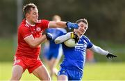 2 February 2020; Dermot Malone of Monaghan in action against Kieran McGeary of Tyrone during the Allianz Football League Division 1 Round 2 match between Monaghan and Tyrone at St. Mary's Park in Castleblayney, Monaghan. Photo by Oliver McVeigh/Sportsfile