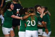 2 February 2020; Beibhinn Parsons, right, celebrates with Ireland team-mates after scoring her side's third try during the Women's Six Nations Rugby Championship match between Ireland and Scotland at Energia Park in Donnybrook, Dublin. Photo by Ramsey Cardy/Sportsfile