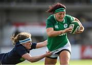 2 February 2020; Lindsay Peat of Ireland is tackled by Rachel McLachlan of Scotland during the Women's Six Nations Rugby Championship match between Ireland and Scotland at Energia Park in Donnybrook, Dublin. Photo by Ramsey Cardy/Sportsfile