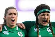 2 February 2020; Edel McMahon, left, and Anna Caplice of Ireland during the National Anthem at the Women's Six Nations Rugby Championship match between Ireland and Scotland at Energia Park in Donnybrook, Dublin. Photo by Ramsey Cardy/Sportsfile
