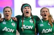 2 February 2020; Edel McMahon, left, Anna Caplice, centre, and Kathryn Dane of Ireland during the National Anthem at the Women's Six Nations Rugby Championship match between Ireland and Scotland at Energia Park in Donnybrook, Dublin. Photo by Ramsey Cardy/Sportsfile