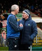2 February 2020; Galway manager Shane O'Neill and Limerick manager John Kiely exchange a handshake after the Allianz Hurling League Division 1 Group A Round 2 match between Limerick and Galway at LIT Gaelic Grounds in Limerick. Photo by Diarmuid Greene/Sportsfile