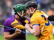 2 February 2020; Shaun Murphy of Wexford and Tony Kelly of Clare jostle each other near the end of the Allianz Hurling League Division 1 Group B Round 2 match between Wexford and Clare at Chadwicks Wexford Park in Wexford. Photo by Ray McManus/Sportsfile