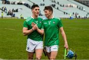2 February 2020; Sean Finn and Aaron Costello of Limerick celebrate after the Allianz Hurling League Division 1 Group A Round 2 match between Limerick and Galway at LIT Gaelic Grounds in Limerick. Photo by Diarmuid Greene/Sportsfile