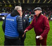 2 February 2020; Clare manager Brian Lohan is congratulated by team sponsor, Pat O'Donnell, after the Allianz Hurling League Division 1 Group B Round 2 match between Wexford and Clare at Chadwicks Wexford Park in Wexford. Photo by Ray McManus/Sportsfile
