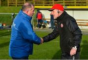 2 February 2020; Monaghan manager Seamus McEnaney, left, and Tyrone manager Mickey Harte shake hands after the Allianz Football League Division 1 Round 2 match between Monaghan and Tyrone at St. Mary's Park in ?Castleblayney, Monaghan. Photo by Oliver McVeigh/Sportsfile