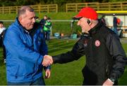 2 February 2020; Monaghan manager Seamus McEnaney, left, and Tyrone manager Mickey Harte shake hands after the Allianz Football League Division 1 Round 2 match between Monaghan and Tyrone at St. Mary's Park in Castleblayney, Monaghan. Photo by Oliver McVeigh/Sportsfile