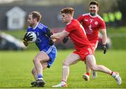 2 February 2020; Conor Boyle of Monaghan in action against Conor Meyler of Tyrone during the Allianz Football League Division 1 Round 2 match between Monaghan and Tyrone at St. Mary's Park in Castleblayney, Monaghan. Photo by Oliver McVeigh/Sportsfile