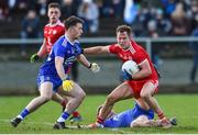 2 February 2020; Kieran McGeary of Tyrone in action against CHristopher McGuinness and Conor McCarthy of Monaghan during the Allianz Football League Division 1 Round 2 match between Monaghan and Tyrone at St. Mary's Park in Castleblayney, Monaghan. Photo by Oliver McVeigh/Sportsfile