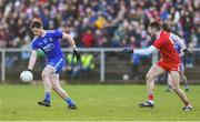 2 February 2020; Conor McManus of Monaghan in action against Michael Cassidy of Tyrone during the Allianz Football League Division 1 Round 2 match between Monaghan and Tyrone at St. Mary's Park in ?Castleblayney, Monaghan. Photo by Oliver McVeigh/Sportsfile