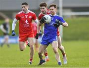 2 February 2020; Karl O'Connell of Monaghan in action against Rory Brennan of Tyrone during the Allianz Football League Division 1 Round 2 match between Monaghan and Tyrone at St. Mary's Park in Castleblayney, Monaghan. Photo by Oliver McVeigh/Sportsfile