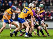 2 February 2020; Wexford goalkeeper Mark Fanning, full back Liam Ryan and corner back Joe O'Connor defend their goal line under pressure from Clare forwards Shane O'Donnell, left, Ryan Taylor, 13, and David Reidy during the Allianz Hurling League Division 1 Group B Round 2 match between Wexford and Clare at Chadwicks Wexford Park in Wexford. Photo by Ray McManus/Sportsfile