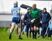 2 February 2020; Linesman John Keenan speaks to Andrew Dunphy of Dublin after he came on as a substitute prematurely during the Allianz Hurling League Division 1 Group B Round 2 match between Dublin and Laois at Parnell Park in Dublin. Photo by Brendan Moran/Sportsfile