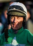 2 February 2020; Davy Russell looks on after riding Presenting Percy in the Paddy Power Irish Gold Cup on Day Two of the Dublin Racing Festival at Leopardstown Racecourse in Dublin. Photo by Harry Murphy/Sportsfile