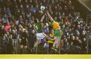2 February 2020; James McEntee of Meath in action against Ciarán Thompson of Donegal during the Allianz Football League Division 1 Round 2 match between Meath and Donegal at Páirc Tailteann in Navan, Meath. Photo by Daire Brennan/Sportsfile