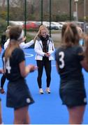 2 February 2020; Loreto Beaufort coach Hannah Matthews is applauded by her players following the Leinster Hockey Schoolgirls Senior Cup Final match between Newpark Comprehensive and Loreto Beaufort at the National Hockey Stadium in UCD, Dublin. Photo by Sam Barnes/Sportsfile