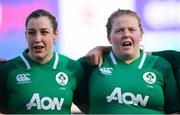 2 February 2020; Laura Feely, left, and Leah Lyons of Ireland ahead of the Women's Six Nations Rugby Championship match between Ireland and Scotland at Energia Park in Donnybrook, Dublin. Photo by Ramsey Cardy/Sportsfile