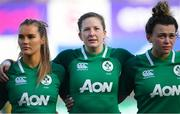 2 February 2020; Aoife Doyle, left, Lauren Delany, centre, and Victoria Dabanovich O'Mahony of Ireland ahead of the Women's Six Nations Rugby Championship match between Ireland and Scotland at Energia Park in Donnybrook, Dublin. Photo by Ramsey Cardy/Sportsfile