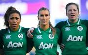 2 February 2020; Sene Naoupu, left, Aoife Doyle, centre, and Lauren Delany of Ireland ahead of the Women's Six Nations Rugby Championship match between Ireland and Scotland at Energia Park in Donnybrook, Dublin. Photo by Ramsey Cardy/Sportsfile