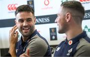 3 February 2020; Conor Murray, left, and John Cooney during an Ireland Rugby press conference in the Sport Ireland National Indoor Arena at the Sport Ireland Campus in Dublin. Photo by Ramsey Cardy/Sportsfile