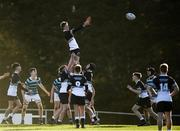 3 February 2020; Ruarí Byrne of Newbridge College wins possession from a line-out during the Bank of Ireland Leinster Schools Junior Cup First Round match between Newbridge College and St Gerard's School at Templeville Road in Dublin. Photo by Harry Murphy/Sportsfile