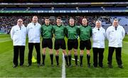 18 January 2020; Referee Seán Stack with his officials before the AIB GAA Hurling All-Ireland Junior Club Championship Final between Russell Rovers and Conahy Shamrocks at Croke Park in Dublin. Photo by Piaras Ó Mídheach/Sportsfile