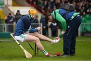 2 February 2020; Richie English of Limerick receives treatment from physio Mark Melbourne prior to the Allianz Hurling League Division 1 Group A Round 2 match between Limerick and Galway at LIT Gaelic Grounds in Limerick. Photo by Diarmuid Greene/Sportsfile