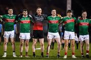 1 February 2020; Mayo players, from left, Paddy Durcan, Brendan Harrison, Robbie Hennelly, Stephen Coen, Stephen Coen and Ryan O'Donoghue prior to the Allianz Football League Division 1 Round 2 match between Mayo and Dublin at Elverys MacHale Park in Castlebar, Mayo. Photo by Harry Murphy/Sportsfile