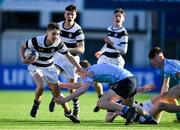 3 February 2020; Ivor Cuddy of Belvedere College is tackled by Billy O'Donahoe of St Michael's College during the Bank of Ireland Leinster Schools Junior Cup First Round match between St Michael's College and Belvedere College at Energia Park in Donnybrook, Dublin. Photo by Piaras Ó Mídheach/Sportsfile