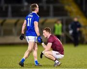 1 February 2020; Martin Reilly of Cavan shakes hands with a disappointed Ray Connellan of Westmeath after the Allianz Football League Division 2 Round 2 match between Cavan and Westmeath at Kingspan Breffni in Cavan. Photo by Oliver McVeigh/Sportsfile