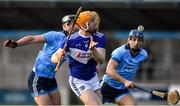 2 February 2020; Pádraig Delaney of Laois in action against Mark Schutte and David Keogh of Dublin during the Allianz Hurling League Division 1 Group B Round 2 match between Dublin and Laois at Parnell Park in Dublin. Photo by Brendan Moran/Sportsfile