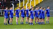 2 February 2020; The Monaghan team stand for the national anthem ahead of the Allianz Football League Division 1 Round 2 match between Monaghan and Tyrone at St. Mary's Park in ?Castleblayney, Monaghan. Photo by Oliver McVeigh/Sportsfile