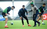 4 February 2020; Assistant coach Mike Catt, right, wih Max Deegan, left, and Conor Murray  during Ireland Rugby squad training at the IRFU High Performance Centre at the Sport Ireland Campus in Dublin. Photo by Ramsey Cardy/Sportsfile