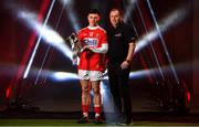4 February 2020; On hand to launch the 2020 EirGrid GAA Football U20 All-Ireland Championship at Croke Park in Dublin, are, Mark Cronin of Cork and Cork manager Keith Ricken. EirGrid, the state-owned company that manages and develops Ireland's electricity grid, has been a proud sponsor of the U20 GAA Football All-Ireland Championship since 2015. #EirGridGAA. Photo by Brendan Moran/Sportsfile