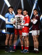 4 February 2020; On hand to launch the 2020 EirGrid GAA Football U20 All-Ireland Championship at Croke Park in Dublin, are, from left, Brian O'Leary of Dublin, Antoin Fox of Tyrone, Mark Cronin of Cork and Jack Glynn of Galway. EirGrid, the state-owned company that manages and develops Ireland's electricity grid, has been a proud sponsor of the U20 GAA Football All-Ireland Championship since 2015. #EirGridGAA. Photo by Brendan Moran/Sportsfile