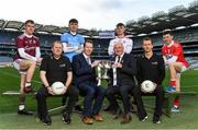 4 February 2020; On hand to launch the 2020 EirGrid GAA Football U20 All-Ireland Championship at Croke Park in Dublin, are, from left, Jack Glynn of Galway, Cork manager Keith Ricken, Brian O'Leary of Dublin, Michael Mahon, Director of Grid Development and Interconnection, EirGrid, Uachtarán Chumann Lúthchleas Gael John Horan, Antoin Fox of Tyrone and Mark Cronin of Cork. EirGrid, the state-owned company that manages and develops Ireland's electricity grid, has been a proud sponsor of the U20 GAA Football All-Ireland Championship since 2015. #EirGridGAA. Photo by Brendan Moran/Sportsfile
