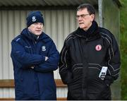 2 February 2020; Monaghan County Board secretary Michael Carroll and Tyrone County Board secretary Dominic McCaughey before the Allianz Football League Division 1 Round 2 match between Monaghan and Tyrone at St. Mary's Park in ?Castleblayney, Monaghan. Photo by Oliver McVeigh/Sportsfile