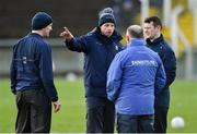 2 February 2020; Monaghan selector David McCague, centre, speaks with, from left, coach John Devine, manager Seamus McEnaney, and strength and conditioning coach Peter Donnelly before the Allianz Football League Division 1 Round 2 match between Monaghan and Tyrone at St. Mary's Park in ?Castleblayney, Monaghan. Photo by Oliver McVeigh/Sportsfile