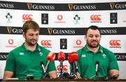 4 February 2020; Iain Henderson, left, and Cian Healy during an Ireland Rugby press conference at the IRFU High Performance Centre at the Sport Ireland Campus in Dublin. Photo by Ramsey Cardy/Sportsfile