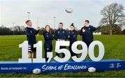 5 February 2020; In attendance, from left, are Leinster rugby players Ciarán Frawley, Daisy Earle, Rob Kearney, Judy Bobbett and Ross Molony at the 2020 Bank of Ireland Leinster Rugby School of Excellence launch in Kings Hospital, over 11,590 kids have taken part in the camp over the past 22 years and 600 places already sold for this summer. Photo by David Fitzgerald/Sportsfile