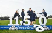 5 February 2020; In attendance, from left, are Leinster rugby players Daisy Earle, Rob Kearney, Ross Molony, Ciarán Frawley and Judy Bobbett at the 2020 Bank of Ireland Leinster Rugby School of Excellence launch in Kings Hospital, over 11,590 kids have taken part in the camp over the past 22 years and 600 places already sold for this summer. Photo by David Fitzgerald/Sportsfile