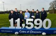 5 February 2020; In attendance, from left, are School of Excellence Camp Manager Stephen Maher, Ciarán Frawley, Daisy Earle, Rory Carty, Head of Youth Banking, Bank of Ireland, Rob Kearney, Judy Bobbett and Ross Molony at the 2020 Bank of Ireland Leinster Rugby School of Excellence launch in Kings Hospital, over 11,590 kids have taken part in the camp over the past 22 years and 600 places already sold for this summer. Photo by David Fitzgerald/Sportsfile