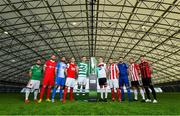 5 February 2020; SSE Airtricty League Premier Division players, from left, Conor Davis of Cork City, Ciaran Kilduff of Shelbourne, Dave Webster of Finn Harps, Ian Bermingham of St Patrick's Athletic, Ronan Finn of Shamrock Rovers, Darragh Leahy of Dundalk, David Cawley of Sligo Rovers, Robbie McCourt of Waterford, Conor Clifford of Derry City and Danny Grant of Bohemians during the launch of the 2020 SSE Airtricity League season at the Sport Ireland National Indoor Arena in Dublin. Photo by Seb Daly/Sportsfile