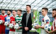 5 February 2020; FAI Interim Deputy Chief Executive Niall Quinn with SSE Airtricty League Premier Division players, from left, Ciaran Kilduff of Shelbourne, Dave Webster of Finn Harps, Ian Bermingham of St Patrick's Athletic, Ronan Finn of Shamrock Rovers, Darragh Leahy of Dundalk and David Cawley of Sligo Rovers during the launch of the 2020 SSE Airtricity League season at the Sport Ireland National Indoor Arena in Dublin. Photo by Stephen McCarthy/Sportsfile