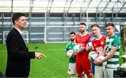 5 February 2020; FAI Interim Deputy Chief Executive Niall Quinn speaks to SSE Airtricty League Premier Division players during the launch of the 2020 SSE Airtricity League season at the Sport Ireland National Indoor Arena in Dublin. Photo by Stephen McCarthy/Sportsfile